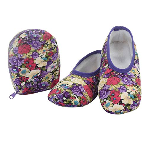 Snoozies Skinnies & Travel Pouch | Purse Slippers for Women | Travel Flats with Pouch | Womens Slippers On The Go | Floral Prints | Purple with Flowers | Large