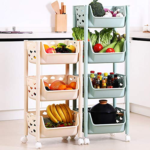JIEIIFAFH 3/4 Tier Cocina Verduras Almacenamiento Rack Trolley Cart Shelf Wheels Room Soporte (Color : Green, Size : 4 Layers)