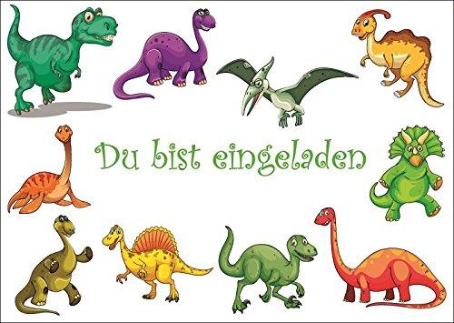 10 Dinosaurier-Einladungen/Geburtstagseinladungen Kinder Mädchen Jungen: 10-er Set Einladungskarten zum Kindergeburtstag oder ins Museum (10729)