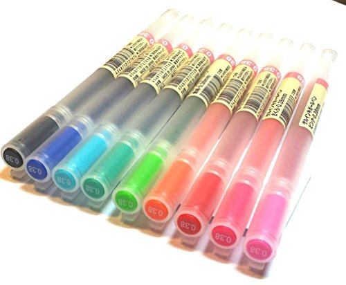 Muji, Gelschreiber, 0,38mm, 9 verschiedene Farben