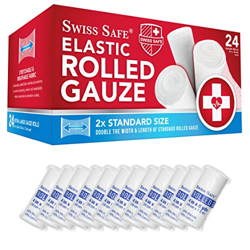 Elastic Stretch Gauze Rolls (24-Pack) 4in x 8 Yards [ 2X Longer ] - Individually Wrapped Latex-Free Rolled Gauze (Size: 4 inch x 8 Yards)