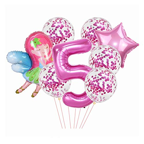 YSJSPOL Balloon 8pcs/set Pink Number Balloon Cute Fairy Star Foil Ballons Confetti Globos for Baby Birthday Party Decoration Party (Color : BN5)