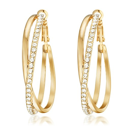 Gemini Women's Jewerly 18k Yellow Gold Plated CZ Diamonds Hoop Earrings Valentine's Day Gifts Gm032Yg 1.5 inches