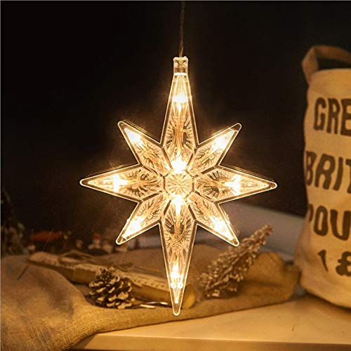 Gxklmg LED Christmas Decorations Hanging Light with Sucker, Christmas Tree Decor Ornament, Battery-Powered, Multiple Styles for Party, Christmas Decoration,North Star