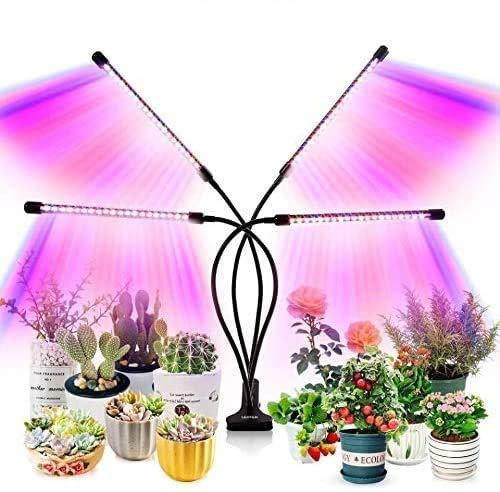 HSY SHOP Luces de Cultivo para Plantas de Interior, Las más Nuevas 120 LED, luz de Cultivo de Plantas de Espectro Completo, 10 Niveles de atenuación y lámpara de Cultivo de 4 Cabezas con Temporizador