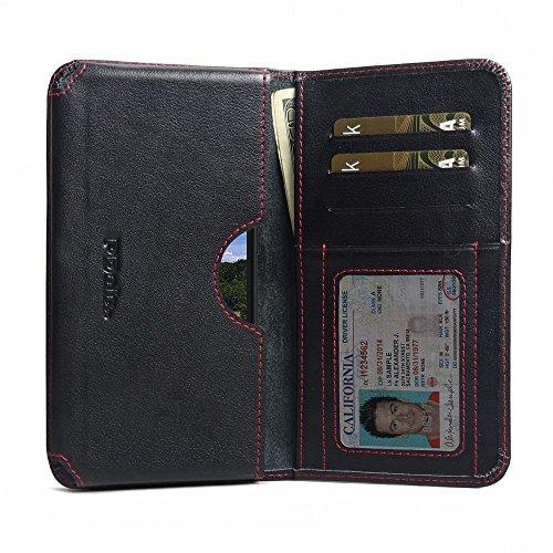 PDAir BlackBerry Aurora Leder Brieftasche Folio Handy Hülle (Rot Stich), Echtleder Brieftasche Hülle Klapphülle Flip Hülle Etui, Prämie Kreditkarte Brieftasche Hülle für BlackBerry Aurora