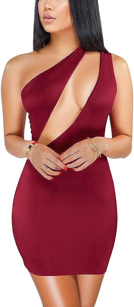 ECHOINE Superlatite Women's Sexy One List price Shoulder Cutout Bodycon Mini Sleeveless