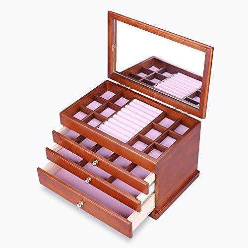 DXX-HR elemento de almacenamiento de Brown de múltiples capas retro Hemlock madera joyería caja de almacenamiento de los pendientes del collar de la caja cosmética muchacha de la mujer del regalo del