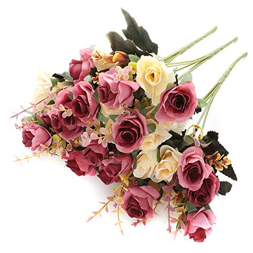SUNNEGO Künstliche Blumen, gefälschte Rose Seide Blumen Dekor 6 Zweig 12 Köpfe Dekoration für Tisch Home Office 3 Packungen (rosa rot, 3)