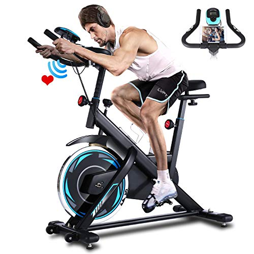 ANCHEER Heimtrainer, Indoor Cycling Bike Fitnessbike Mit Herzfrequenzmonitor & LCD Monitor, Bequeme Sitzkissen, Schwere Schwungrad Upgrade Version, Multi-Grips (Schwarz blau)