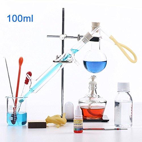 100ml Neu Lab ätherisches Öl Destillation Apparat Wasser Brenner Luftreiniger Glaswaren Kits w/Scheidetrichter Kondensator Rohr Komplette Sets