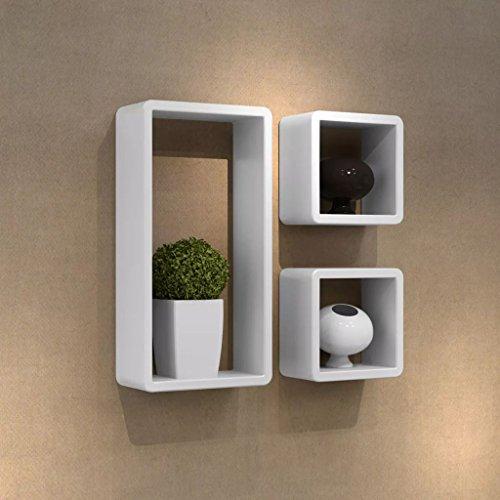 Lingjiushopping Etageres Design Murale 3 Cubes Blanc et MDF 42 x 22 x 10 Couleurs : Blanc Materiel : MDF