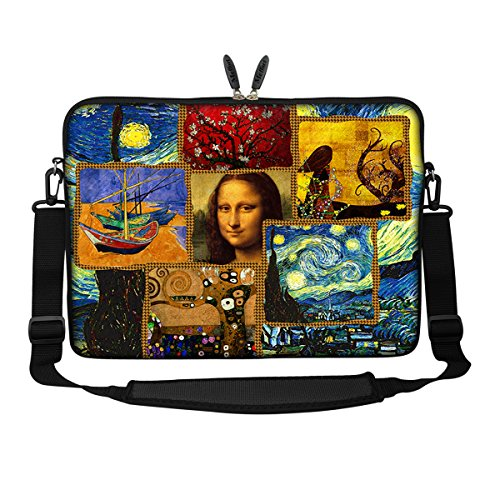 Meffort Inc 15 15.6 inch Neoprene Laptop Sleeve Bag Carrying Case with Hidden Handle and Adjustable Shoulder Strap - Famous Painting