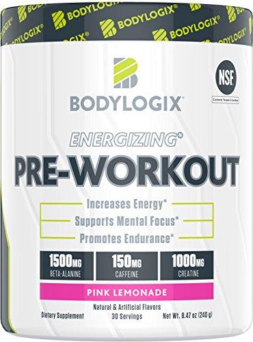 Bodylogix Energizing Pre-Workout Powder, NSF Certified, Pink Lemonade, 30 Servings