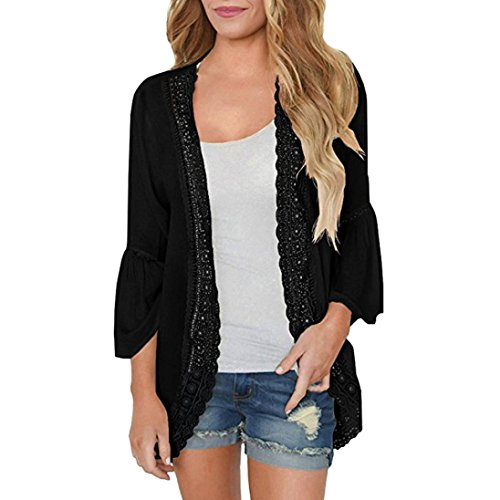 VEMOW Sommer Herbst Elegante Damen Womens Casual Solid Spitze Langarm Casual Tages Party Strand Chiffon Strickjacke Lose Kimono Bluse Tops(Schwarz, 44 DE/L CN)