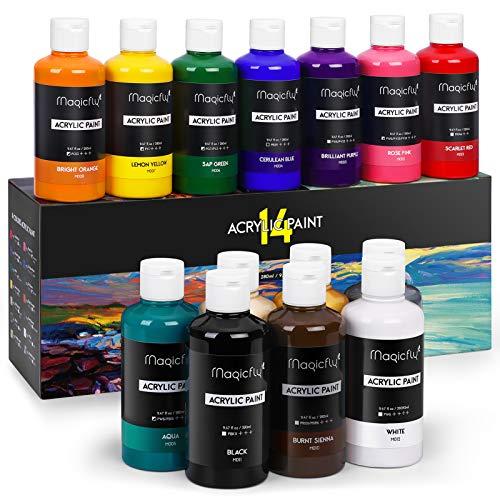 Magicfly Set de Pinturas Acrílicas, 14 Colores 280 ml, Pintura Acrílica Permanente...