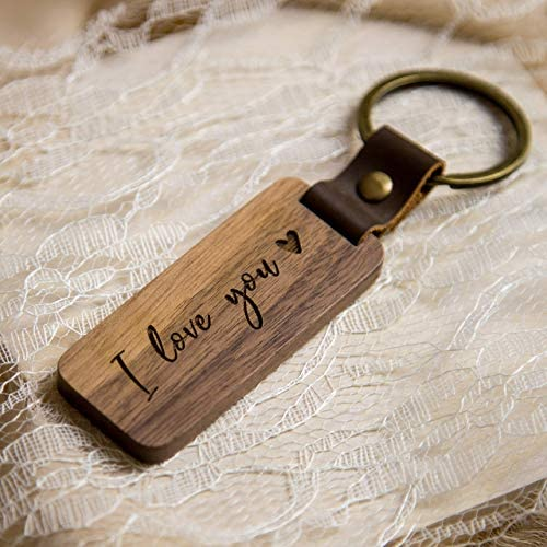 I Love You Wood Key Chain Wood Anniversary Birthday or Valentines Gift for Loved Ones Walnut product image