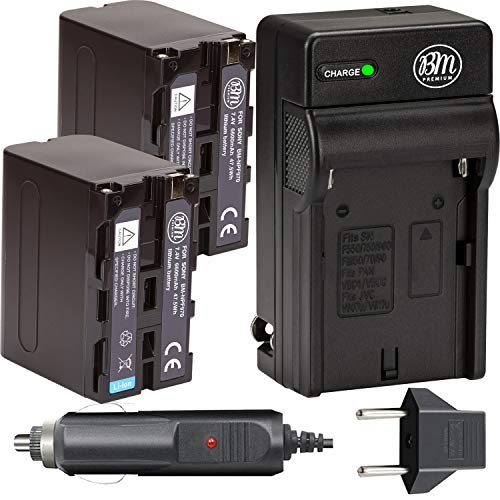 BM Premium 2 NP-F970 High Capacity Batteries and Battery Charger for Sony PXW-Z150, Z190, Z280, NEX-EA50M, FDR-AX14K, HDR-AX2000, FX1000, HVR-HD1000, Z1U Z5U Z7U, HXR-NX5U, MC2000U, MC2500, HXR-NX100