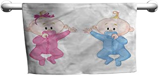 flybeek Floral Hand Towels Gender Reveal,Babies with Pacifiers,Suction Towel bar for Shower