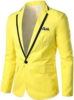 FSSE Mens 1 Button Long Sleeve Casual Business Blazer Jacket Suit Coat