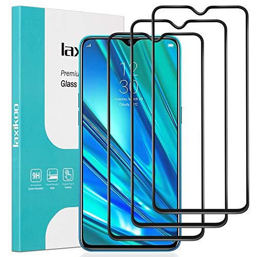 laxikoo Full Screen Panzerglas für Oppo Realme 5 Pro, [3 Stück] Oppo Realme 5 Pro Schutzfolie [Volle Deckung] [HD Transparent] [9H Festigkeit] [Blasenfrei] Panzerglasfolie für Oppo Realme 5 Pro