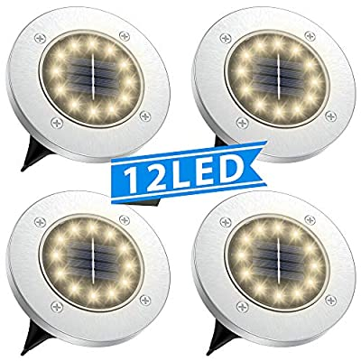 Tesecu Solar Disk Lights 12 LED Solar Ground Lights Outdoor Waterproof Stainless Steel in Ground Solar Lights for Walkway Pathway Lawn Patio Yard Garden- Warm White 8 Pack
