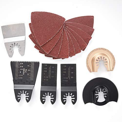 16 piezas de madera/Metal oscilante multiherramienta hojas de sierra Kit de accesorios...