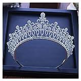 Accesorios para el cabello de novia Barroco Luxury Bridal Crystal Tiara Crowns Princess Queen Pageant Prom Rhinestone Veil Tiaras Headband Boda Accesorios for el cabello ( Metal color : Silver White )
