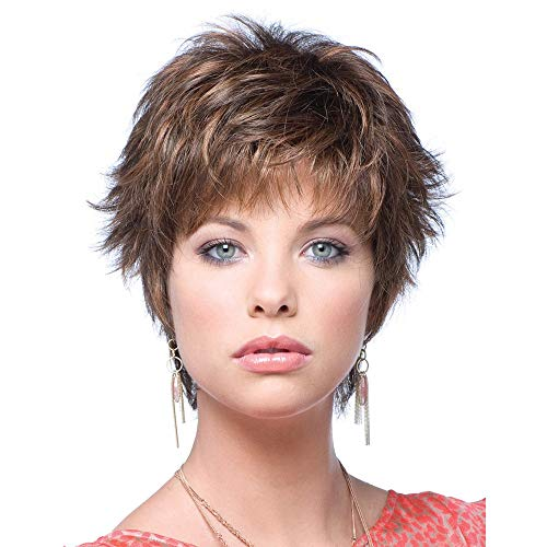 GNIMEGIL Natural Brown Wigs for Women Soft Pixie Cuts Synthetic Wig With Bangs Short Hairstyles for Old Lady Wig with Highlights
