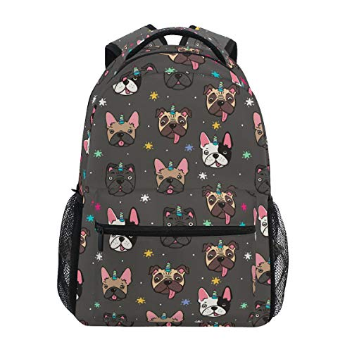 ALAZA Cute Pug Dog French Bulldog Unicorn Large Backpack Personalized Laptop iPad Tablet Travel School Bag with Multiple Pockets