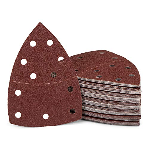 Triángulo de lija (150 unidades/11 agujeros/105 x 152 mm/25 x grano 40-60 – 80-120 – 180-240/para multilijadora/hojas de lija triangulares/papel de lija