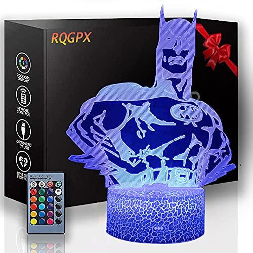 Sleeplite - Lámpara de noche para niños, diseño de Batman, 3D, tres patrones, función de sincronización y 16 cambios de color con mando a distancia