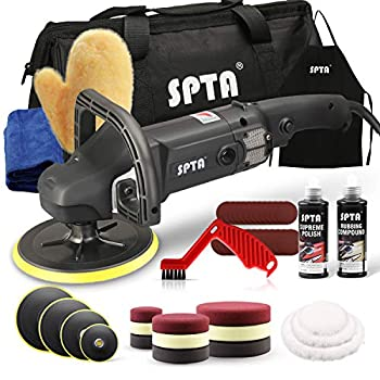 SPTA Buffer Polisher 7 Inch 180mm Rotary Polisher Car Polisher Electric Polisher RO Polisher & Polishing Pads Set for Auto Buffing and Polishing