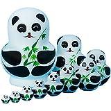 DADAO Anidando muñecas Gatos Matryoshka anidando muñecas, Lindos Animales Hechos a Mano patrón de anidación muñeca Juguete Regalo,Panda
