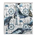CPYang Duschvorhänge Wal Leuchtturm Meer Ozean Wasserdicht Schimmelresistent Badvorhang Badezimmer Home Decor 168 x 182 cm mit 12 Haken