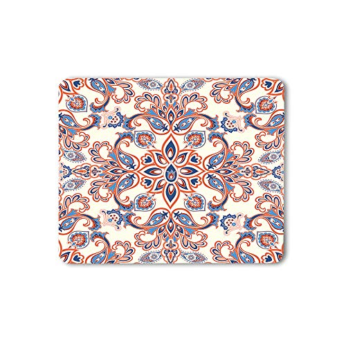 Moslion Retro Flower Print Mouse Pad Paisley Style Geometric Ethnic Ornament Background Gaming Mouse Mat Non-Slip Rubber Base Thick Mousepad for Laptop Computer PC 9.5x7.9 Inch