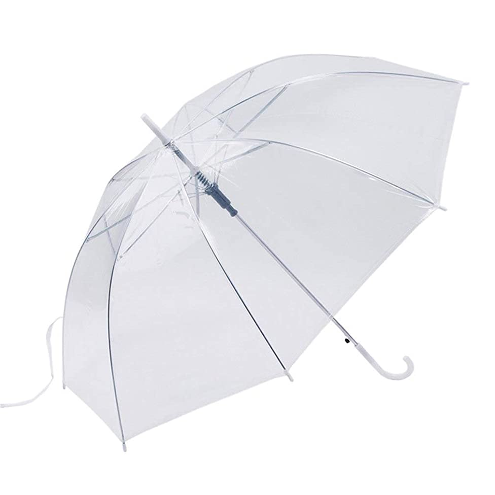 meizhouer Long Handle Color Transparent Umbrella Rain Women Semi-Automatic Umbrellas Paraguas