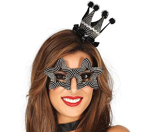 Guirca Set met hoedje en sterrenbril glitter goud zwart dames heren Sylvester party accessoires