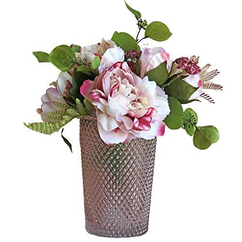 BOTANIC DESSIGN Ramo de Flor Artificial JARRÓN Decorativo Incluido Detalle Floral Artificial peonías en Color Blanco y…