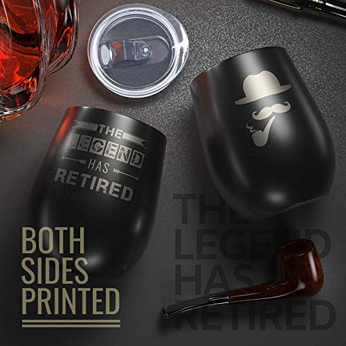 Product Image 2: Best Unique Tumbler for Retirement -The Legend Has Retired-12oz Wine Tumbler with Spill-Proof Lid, Stainless Steel Double Wall Vacuum Insulated Wine Cup, For Dad, Police, Teacher, Boss, Retired Men