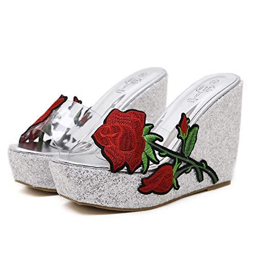 CCJW Clásicas cómodas cuñas de la Sandalia de la Flor, Bordado con Lentejuelas Sandalias de Las Mujeres Transparentes y Zapatillas-Silver_36, Playa Zapatos de baño Gimnasio Chanclas kshu