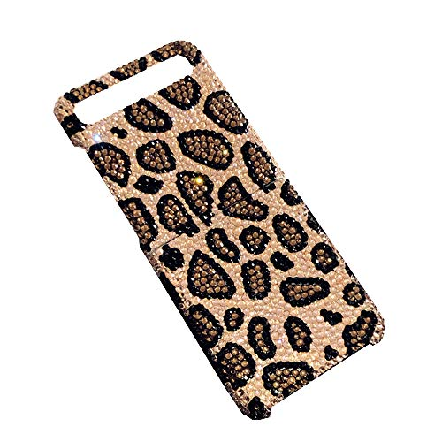 STKJ Compatible con La Funda Samsung Galaxy Z Flip, Brillante Y Encantadora Funda Protectora De Diamantes De Imitación con Estampado De Leopardo