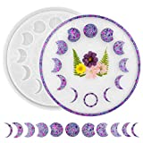 La Rotarr Moon Phase Tray Mold Moon Clock Molds for Resin, Dial Epoxy Mold Lunar Eclipse Crescent Silicone Mold for Epoxy Resin, for Resin Crafts DIY Wall Hanging Home Decoration