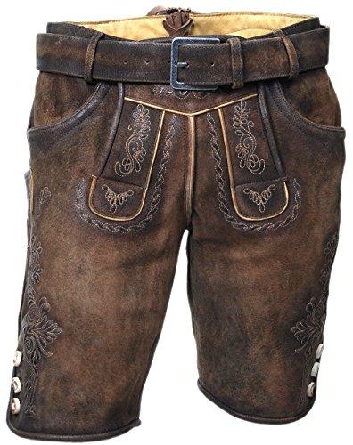 MADDOX Kurze Herren Lederhose, mit Gürtel, echtes Wildbockleder, Trachten-Lederhose, braun, alle Größen (44)