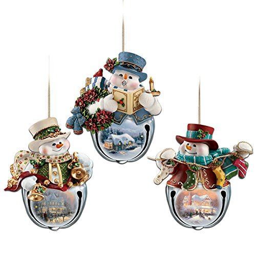 The Bradford Exchange Thomas Kinkade Snow-Bell Holidays Snowman Ornaments: Set of Three