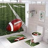 YUAOEUR American Football Duschvorhang Badezimmer Set 4 Stück Sport Fußball Feld & Ball 3D Druck Wasserdicht Stoff Vorhang Dekor für Badezimmer Zubehör mit Badematte & Konturteppich