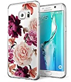 BAISRKE Galaxy S6 Case, Samsung S6 Case with Flowers Slim Shockproof Clear Floral Pattern Soft Flexible TPU Back Cove for Samsung Galaxy S6 G920 [Purple Pink]