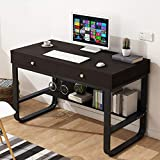 Home Office Multi-Layer Storage Frame Computer Desk with Double Drawer Laptop Office Desk Writing Table, 47.2' x 19.7' x 29.9' (Steel Frame Black Walnut)