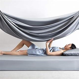 Y-F Drap-Housse de Luxe 100% Soie Gris Bleu beauté Saine 25 Momme Queen King Ensembles de draps avec taie d'oreiller à Ban...