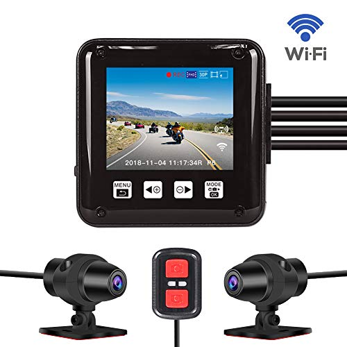 Dash cam,Dual 1080P Sport Accident Proof Camera DVR, Full Body Waterproof, with 2'' Screen, IMX323, Front and Rear Camera Driving Recorder for Motorcycle, Bike